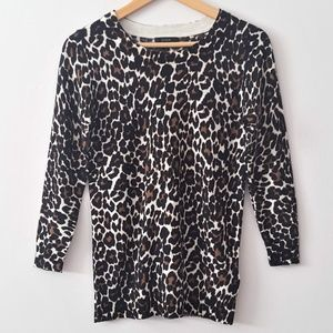 J. CREW 100% Merino Wool Animal Print Sweater XS